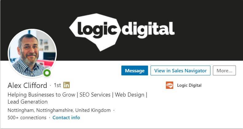 screen shot of alex clifford's linkedin profile page
