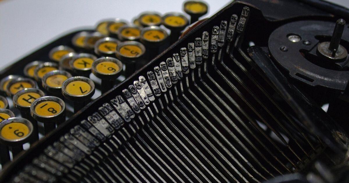 close up of type writer