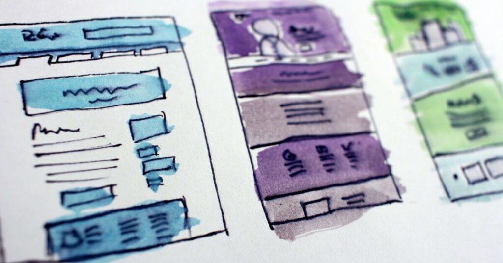 coloured mock up web design on paper