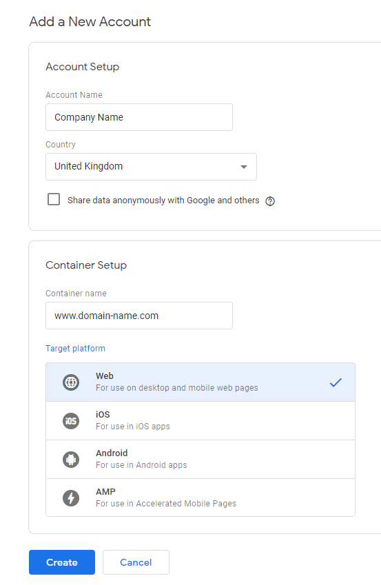 google tag manager set up