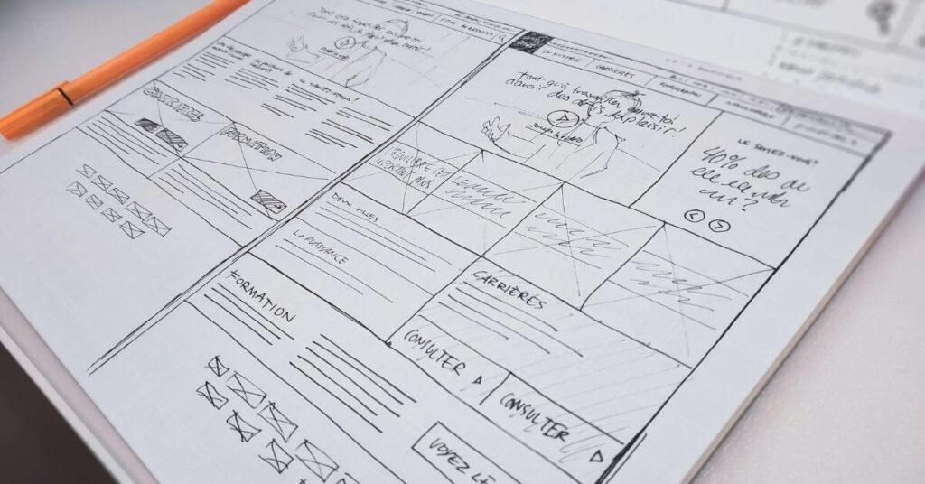 black and white mock up web design on paper