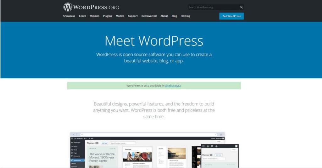 WordPress hompage